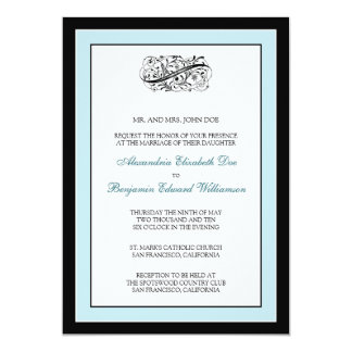 Simply Elegant 5x7 Black/Blue Wedding Invite