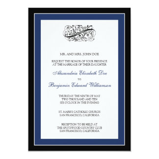 Simply Elegant 5x7 Black/Navy Wedding Invite