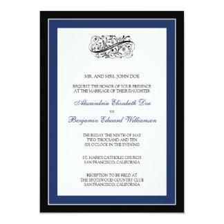 Simply Elegant 5x7 Black/Navy Wedding Invite
