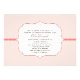 Simply Elegant Baptism Christening Invite - Pink Cards