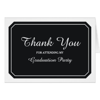 Simply Elegant Black Graduation Thank You Greeting Card