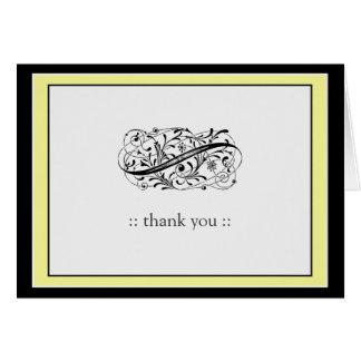 Simply Elegant Custom Thank You (yellow/black) Note Card