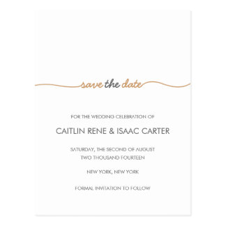 Simply Elegant Gold Save the Date Postcard