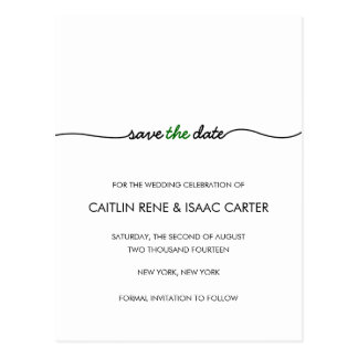 Simply Elegant Green Save the Date Postcard