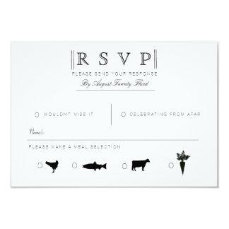 Simply Elegant | Modern Black & White RSVP 9 Cm X 13 Cm Invitation Card