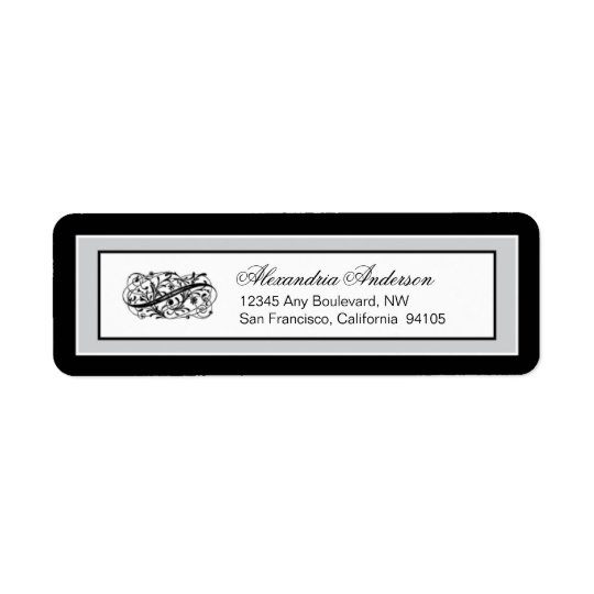 Simply Elegant Return Address Label (black/silver)