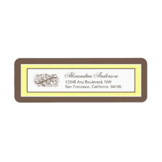 Simply Elegant Return Address Label (brown/yellow)