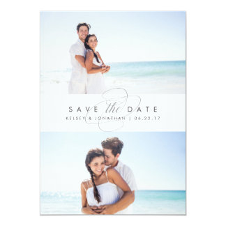 Simply Elegant Two Photo Save the Date 13 Cm X 18 Cm Invitation Card