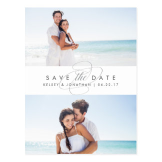 Simply Elegant Two Photo Save the Date Postcard