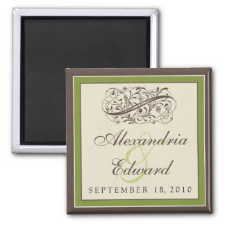 Simply Elegant Wedding Favor Magnet: olive green Square Magnet