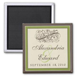 Simply Elegant Wedding Favor Magnet: olive green Square Magnet