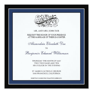 Simply Elegant Wedding Invitation (black/navy)