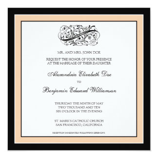 Simply Elegant Wedding Invitation (black/peach)