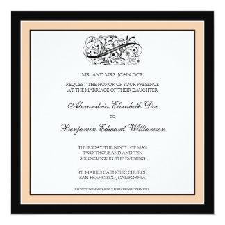 Simply Elegant Wedding Invitation (black/peach)