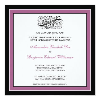 Simply Elegant Wedding Invitation (black/violet)