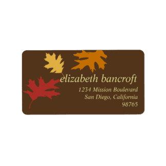 Simply fall leaves autumn custom return address address label