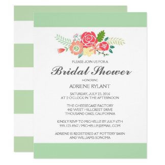 Simply Floral & Stripes Bridal Shower Invitation