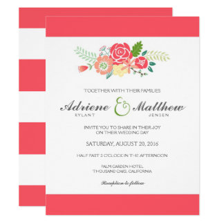 Simply Floral & Stripes Wedding Invitation / Coral