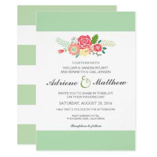 Simply Floral & Stripes Wedding Invitation / Mint