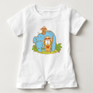 Simply Garfield and Pooky with a Blue Elephant Baby Bodysuit