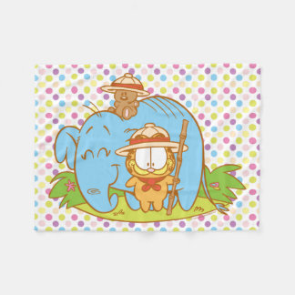 Simply Garfield and Pooky with a Blue Elephant Fleece Blanket