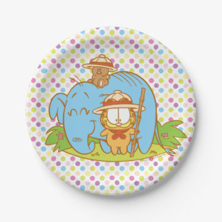 Simply Garfield and Pooky with a Blue Elephant Paper Plate