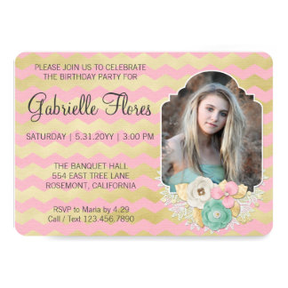 Simply Glam Girl Birthday Party Invitation