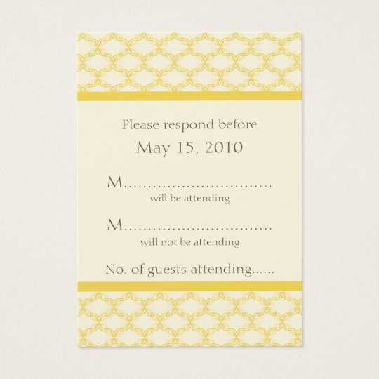 Simply Glamourous RSVP Card, Saffron Yellow Business Card