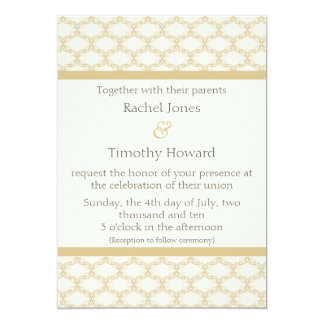 Simply Glamourous Wedding Invite, Latte 13 Cm X 18 Cm Invitation Card