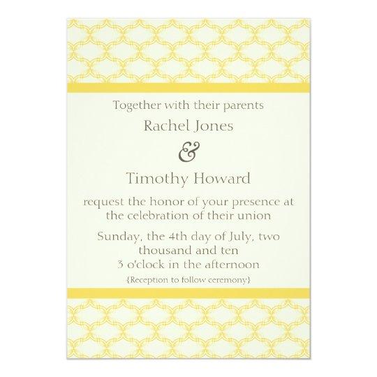 Simply Glamourous Wedding Invite, Saffron Yellow Card