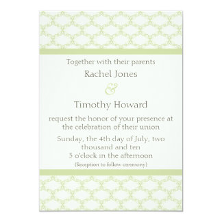 Simply Glamourous Wedding Invite, Sage Green 13 Cm X 18 Cm Invitation Card