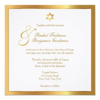 "Simply Gold - Jewish Wedding Invitation 5.25"" Square Invitation Card"