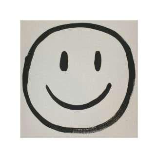 simply happy stretched canvas prints
