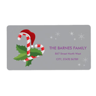 Simply Having Wonderful Christmas Candy Cane Shipping Label