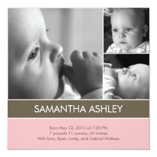 Simply Lovely - 3 Photos Birth Announcement
