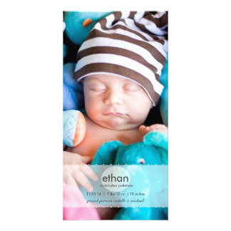 Simply Modern Boy Baby Photo Birth Announcement Card