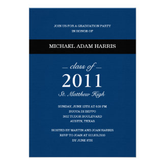 Simply Modern Graduation Party Invitation (Navy) Announcements