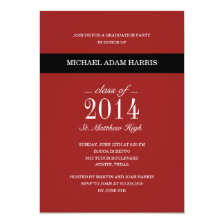 Simply Modern Graduation Party Invitation - Red Custom Invite