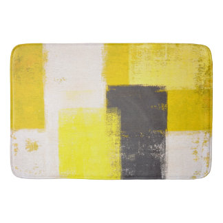 'Simply Modern' Grey and Yellow Abstract Art Bath Mats