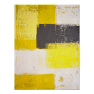 'Simply Modern' Grey and Yellow Abstract Art Poster