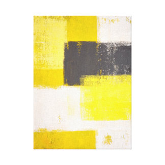'Simply Modern' Grey and Yellow Abstract Art Stretched Canvas Prints