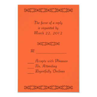 Simply Orange Wedding RSVP 9 Cm X 13 Cm Invitation Card