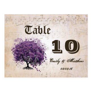 Simply Peachy Purple Heart Leaf Tree Table Number Postcard
