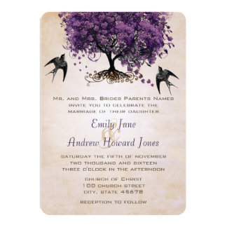 Simply Peachy Purple Heart Leaf Tree Wedding Card