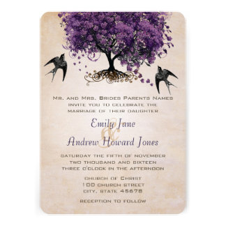 Simply Peachy Purple Heart Leaf Tree Wedding Custom Announcement