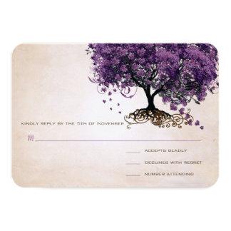 Simply Peachy Purple Heart Leaf Tree Wedding RSVP 9 Cm X 13 Cm Invitation Card