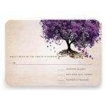 Simply Peachy Purple Heart Leaf Tree Wedding RSVP Invites