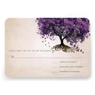 Simply Peachy Purple Heart Leaf Tree Wedding RSVP Invitation