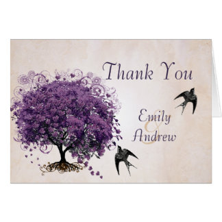 Simply Peachy Purple Heart Tree Wedding Thank You Card