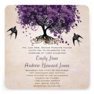 Simply Peachy Purple Romantic Heart Leaf Tree Announcements